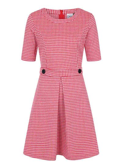 Basil Fitted Stretch Gingham Dress Red Pockets Product Front