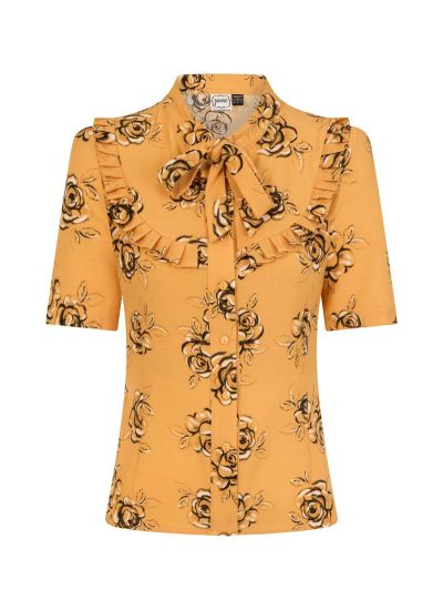Beech Yellow Floral Print Frill Neck Blouse Product Front