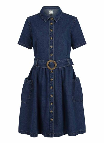 Berlin Belted Denim Shirt Dress Product Front