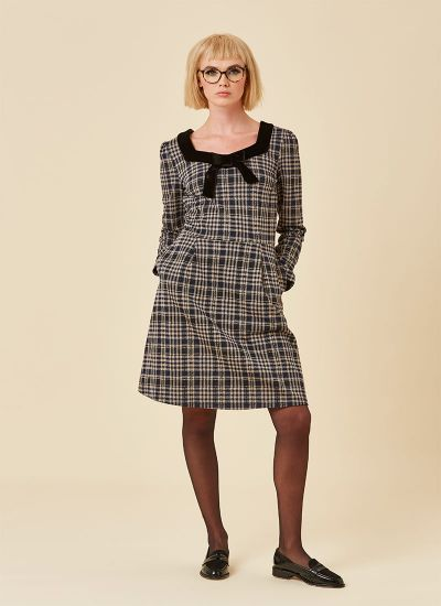 Betsey Tartan Velvet Bow Dress Grey Model Front