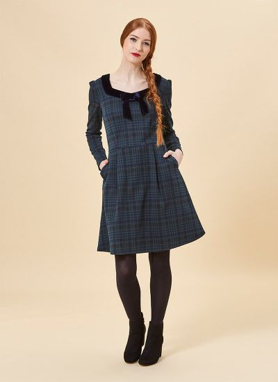 Betsey Green Tartan Velvet Bow Dress Model Front