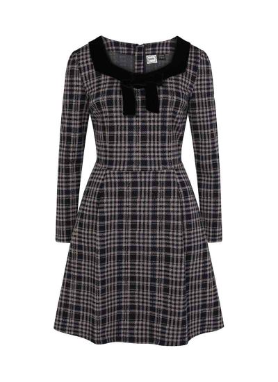 Betsey Tartan Velvet Bow Dress Grey Product Front