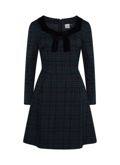 Betsey Green Tartan Velvet Bow Dress Model Product Front