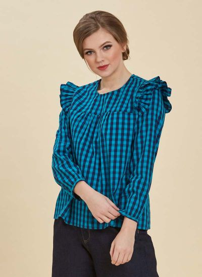 Bette Gingham Blue Blouse Close Up