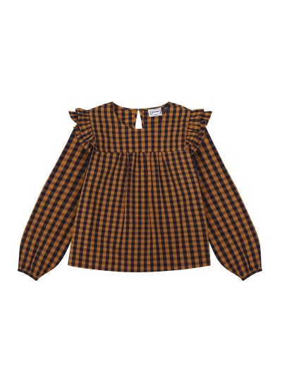 Bette Mustard Gingham Blouse product front