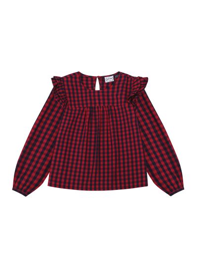 Bette Red Gingham Blouse Ruffled Product Front