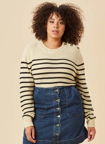 Brittany Cream Stripe Breton Jumper Close-Up