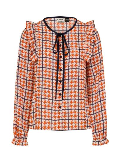 Bryony Dogtooth Print Blouse Product Front