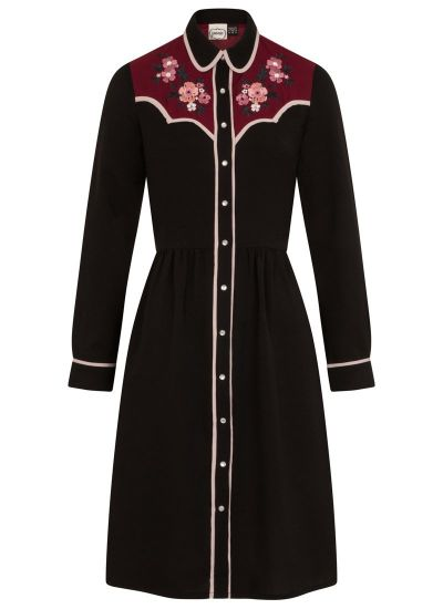 Campbell Western Floral Embroidered Shirt Dress Product Front
