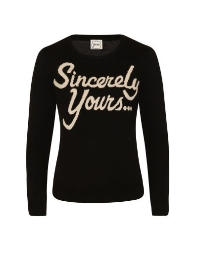 Carla Sincerely Yours Slogan Black Jumper product front