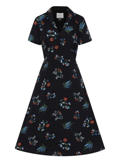 Cassidy Midi Tea Dress Blue Floral Product Front