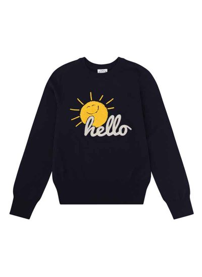 Catherine Hello Slogan Jumper Sunshine Navy Product Front