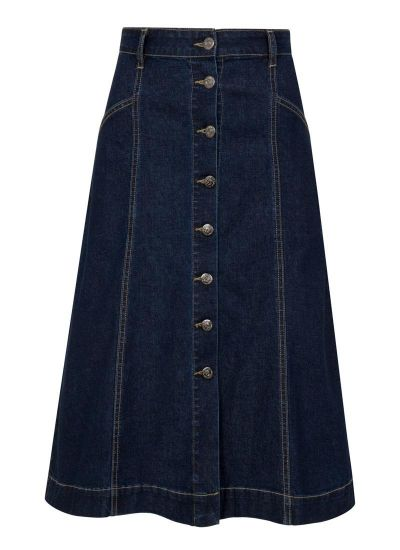 Charlie A-Line Denim Button-Through Midi Skirt Product Front
