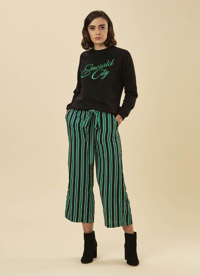 Chloe Green Stripe Culottes Model Front