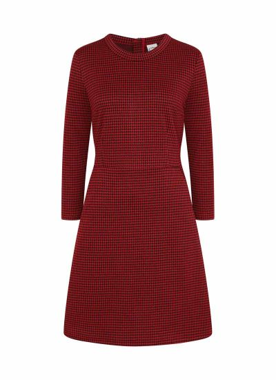 Clarita Dogtooth Dress Red Product Front