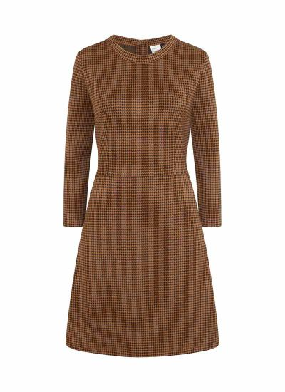 Clarita Dogtooth Dress Mustard Product Front