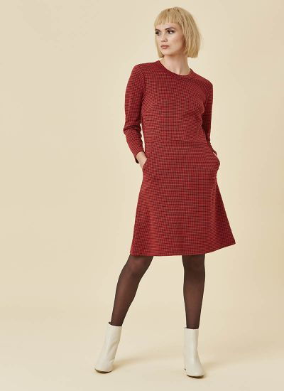 Clarita Dogtooth Dress Red Model Front
