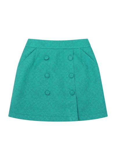 Colbert Jacquard Button A-Line Skirt Green Product Front