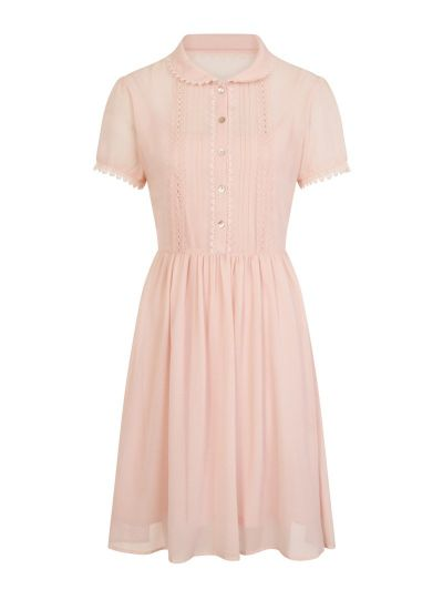 Courtney Ruffle Front Tea Dress Pink Product Front