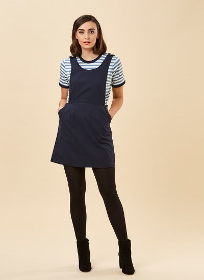 Bowery Apron Pinafore Dress Navy Model Front