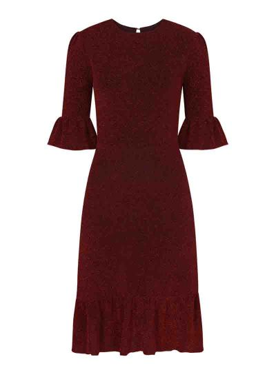 Debbie Metallic Frill Midi Dress Red Product Front