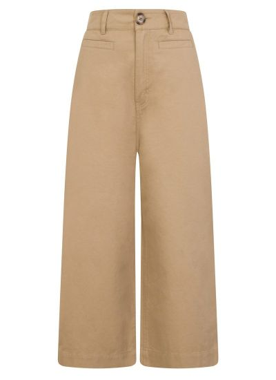 Dietrich Wide-Leg Crop Beige Trousers Product Front