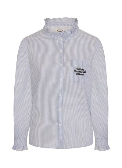 Dorcas Embroidered Slogan Shirt Blue Stripe Product Front