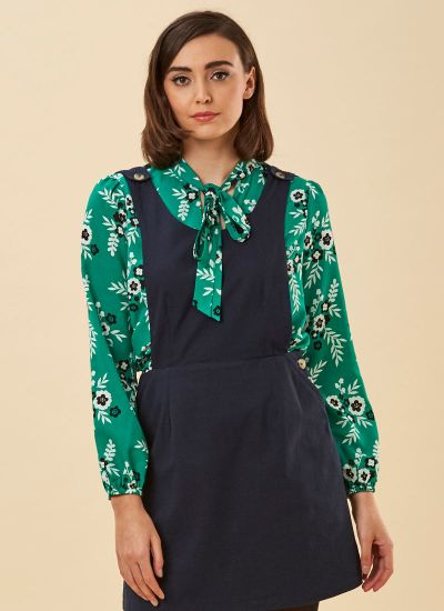 Etoile Green Floral Print Tie Neck Blouse Close-Up
