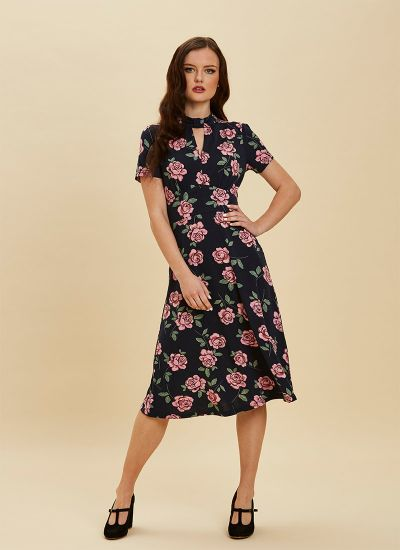 Eugine High Neck Jersey Polka Dot Dress Floral Full Front View