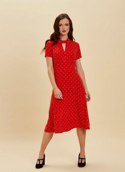 Eugine High Neck Jersey Polka Dot Dress Red Full View