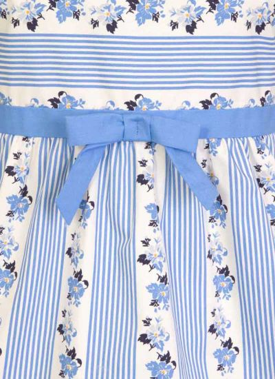 Farrow Floral Stripe Top bow tie close up shot