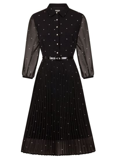 Fisher Black Star Print Dress with Belt Front View