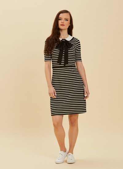 Fritha Black Stripe Collar Dress Full Front View