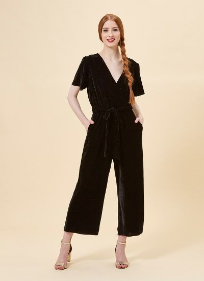 Gennaro Black Wrap Front Velvet Jumpsuit Model Pockets