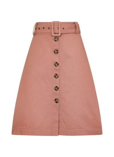 Gladys Belted Button Skirt Pink Product Front