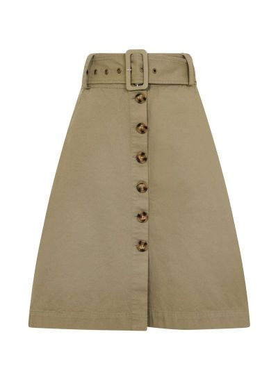 Gladys Belted Button Skirt Green Product Front