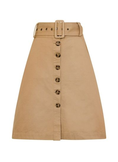 Gladys Beige Belted Button-Through Skirt Product Front