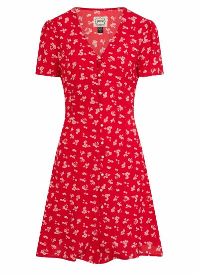 Gwen Red Floral Pearl Button Through Tea Dress Product Front