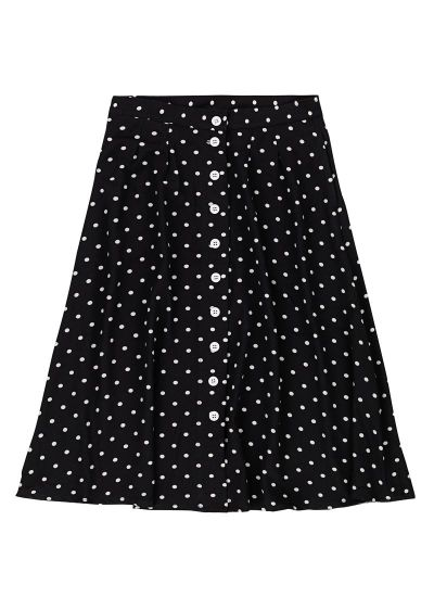 Haley Polka Dot Print Button Midi Skirt
