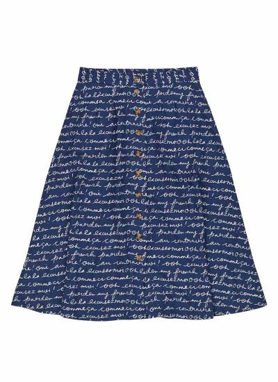 Haley EcoVero™ Franglais Print Button Midi Skirt