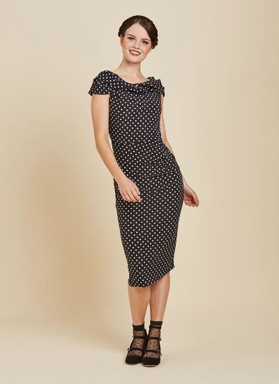 Hedy Polka Dot Stretch Dress Full Front View