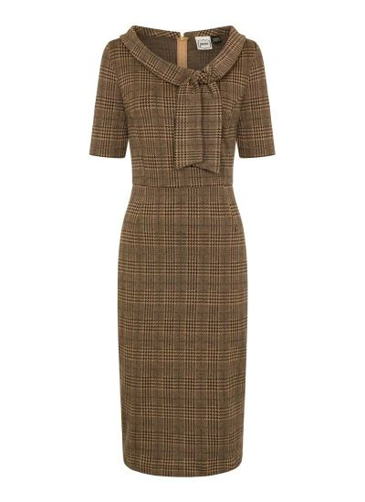Hendricks Brown Stretch Check Pencil Dress
