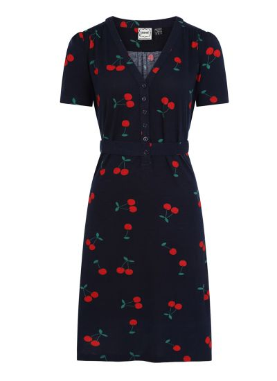 Jade Cherry Print Jersey Dress Product Front View