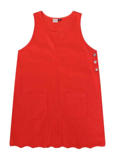 Jennifer Scallop Edge Pinafore Dress Red Product Front