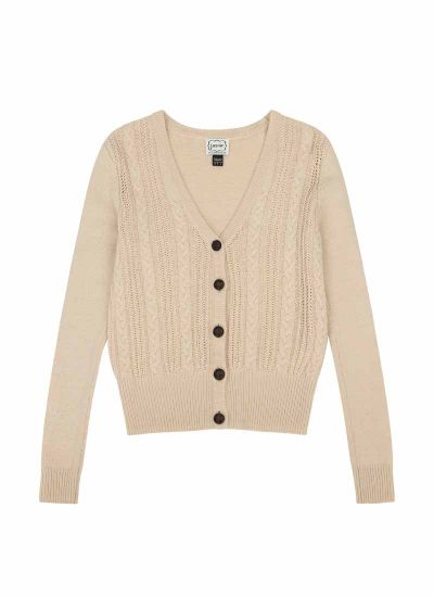 Linda Cable Knit Cream Cardigan Product Front