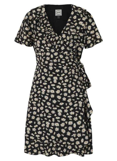 Joyce Daisy Print Frill Wrap Dress Product Front