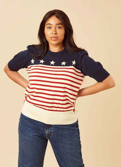 Kacey Stars and Stripes Knitted Sweater
