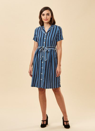 Karlie Blue Stripe Shirt Dress Model Front
