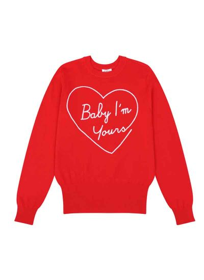 Katie Baby I'm Yours Slogan Jumper Red Product Front