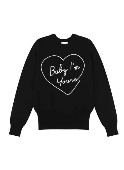 Katie Baby I'm Yours Slogan Jumper Black Product Front